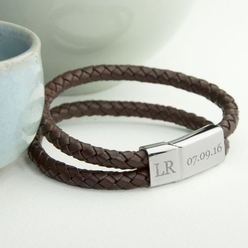 Personalised Dual Leather Woven Bracelet 3 colours